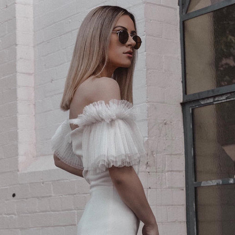 Bandage Dress Sexy White Lace Off Shoulder Slash Neck Mini Club Dress