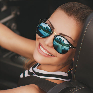Retro Round Sunglasses Driving Mirror vintage Reflective flat lens