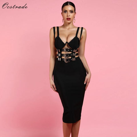 Fashion V Neck Bandage Bodycon Club Party Vestido Dress