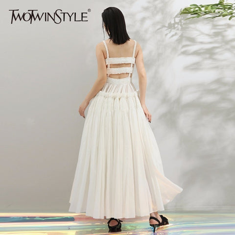 Hollow Out High Waist Ruffles Patchwork Draped Spaghetti Strap Party Dresses