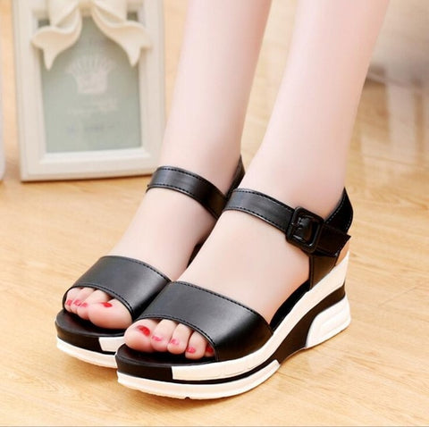 Platform Soft Leather Casual Open Toe Gladiator wedges Trifle Mujer Sandals
