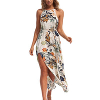 Floral Boho BeachFlower Long Sleeveless Bohe Sexy Halter Leaves Dress