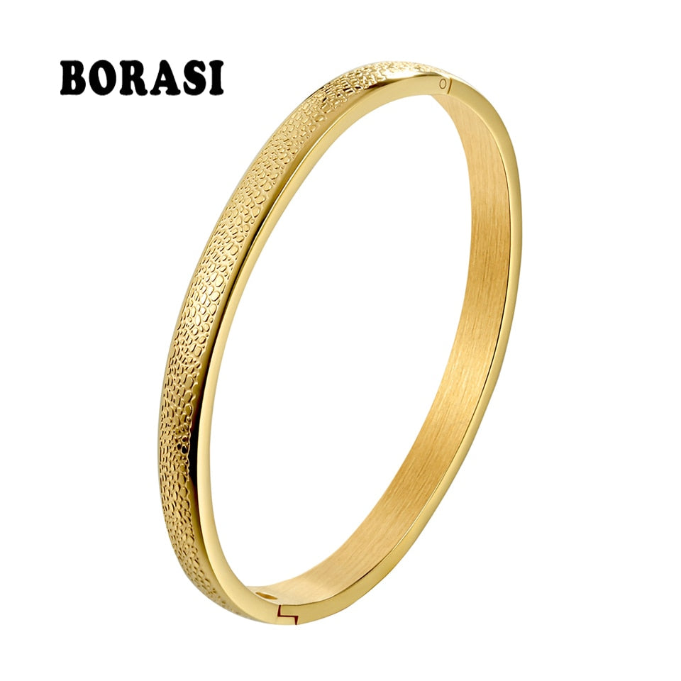 Simple Stainless Steel Jewelry Gold Color Female Scrub Bracelets