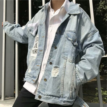 Outerwear Fresh Wild College Casual Style Denim Jacket