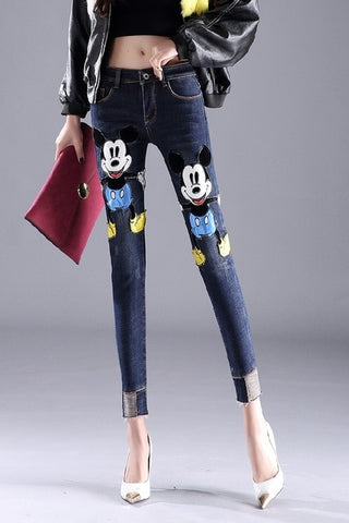 Fashion Patch Cartoon Mickey Hole Denim Pants Slim