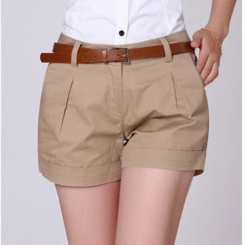 Casual New Fashion Draped Shorts Pockets Zipper Solid Khaki