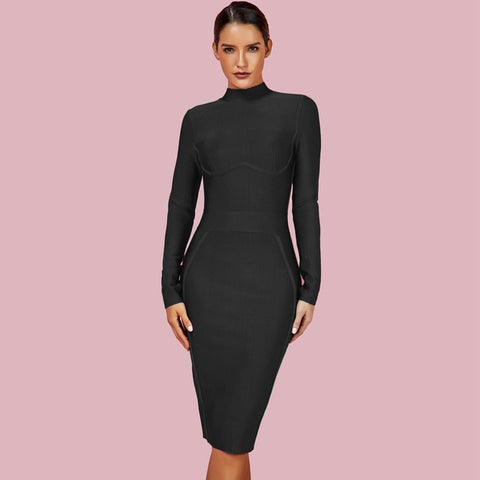 New Arrivals Black Bandage Long Sleeve Bodycon White Dress