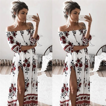 Sexy Off Shoulder Half Sleeve Floral Print Maxi Boho Long Dress