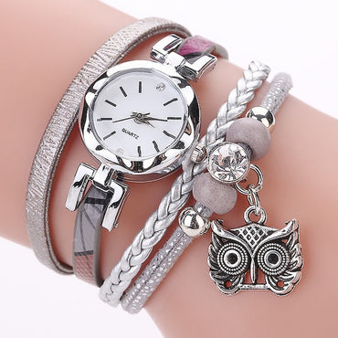 Watches Analog Quartz Owl Pendant Ladies Dress Bracelet Ladies Watch
