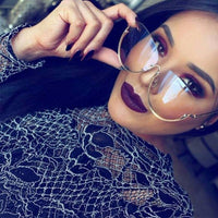 Rimless Cat Eye Sunglasses Transparent Fashion Brand Designer