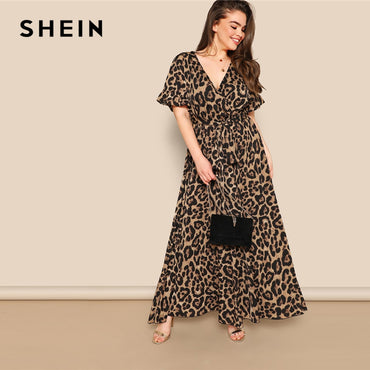 Flounce Sleeve Tie Waist Surplice Wrap Leopard A Line Dress