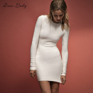 Long Sleeve Bandage Sexy White Bandage Bodycon Party Club Dress