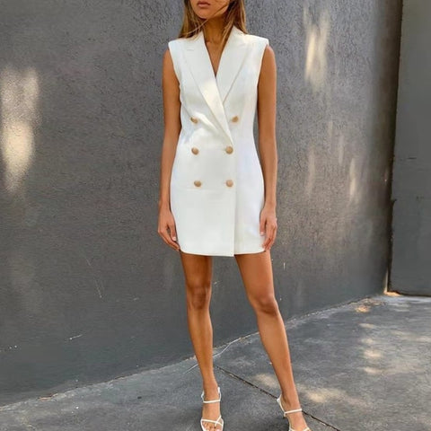 Lady Breasted Bodycon White Sleeveless Elegant Sexy Dress