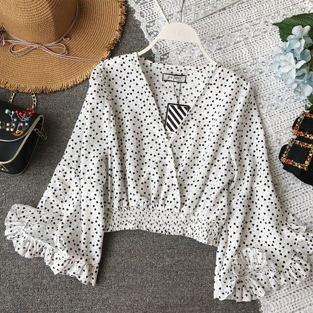 Polka Dot Ruffle Crop Top Blouse V Neck Sexy Boho Top