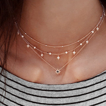 Bohemian Multilayer Pendant Fashion Geometric Charm Chain Necklace