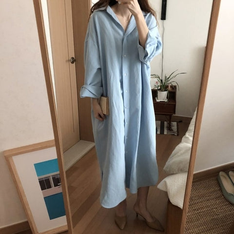 Blue Long Sleeve Shirt Dresses