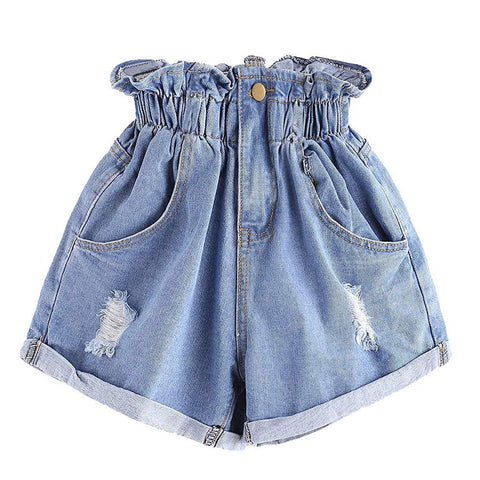 Shorts Mid Waist Hole Ripped Jeans Female Short Loose  Fit Denim