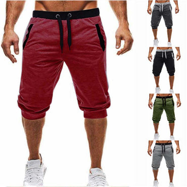 heat brand knee long shorts color patchwork