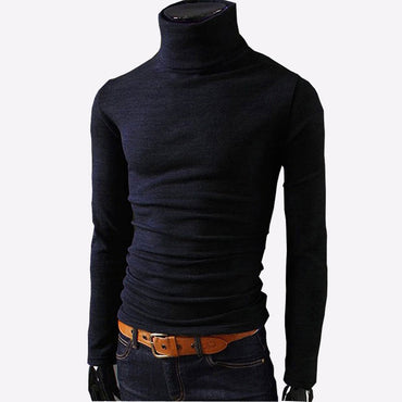 Sweaters Casual Male turtleneck Black Solid Knitwear
