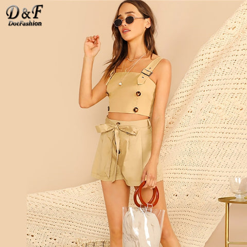 Double Breasted Thick Strap Crop Top With Shorts Fashion Boho