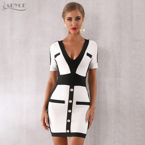Celebrity Evening Party Sexy Deep V Short Sleeve Mini Bodycon Club Dress