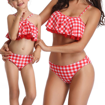 High Waist Swimsuit Bikini set Mother Girl Floral Ruffles