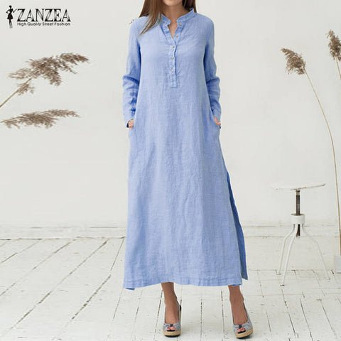 Casual Loose Cotton Vestidos Long Sleeve Sexy Split Hem Maxi Long Dresses