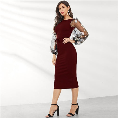 Black Elegant Casual Boat Neck Sleeve Pencil Dresses