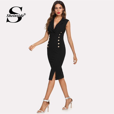 Black Elegant Double Breasted Sleeveless Bodycon Blazer Dresses