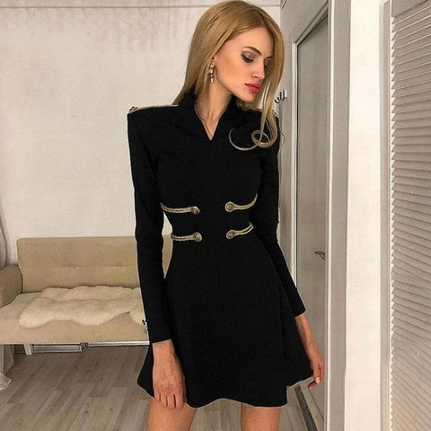 Fashion Celebrity Party Long Sleeve V-Neck Runway Sexy Night Out Club Dress