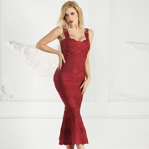 New Arrival Fashion Party Long Sexy Spaghetti Strap Hollow Out Ruffle Midi Dresses