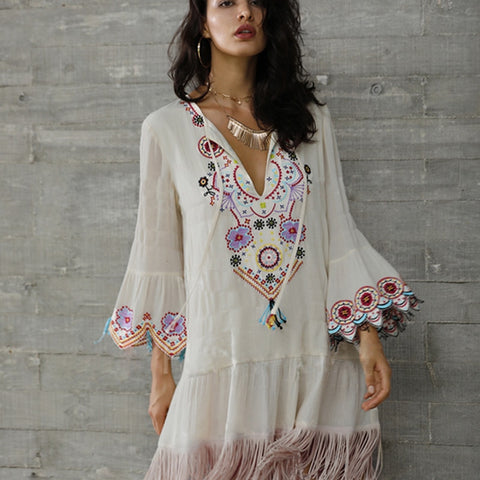 Floral Embroidery Bohemian Flare Sleeve Tassels V-neck Sexy Dress