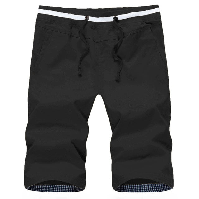 Bermuda Solid Color Male Drawstring Pocket Male Short Bottom