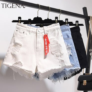 High Waist Denim Shorts Plus Size Pocket Tassel Hole Ripped jeans