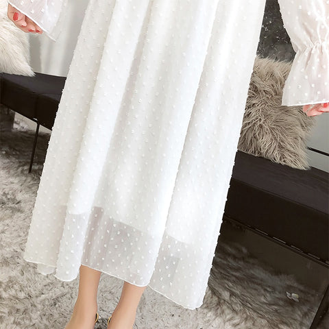 Vintage Long Sleeve Ruffled Party Sexy Ladies Beach Dress