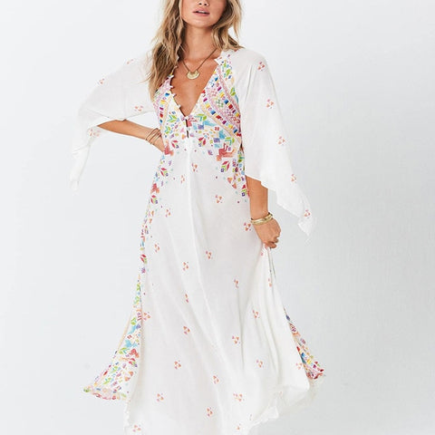 Floral Print Maxi Plus Size V-neck Bohemian Vintage Beach Dress