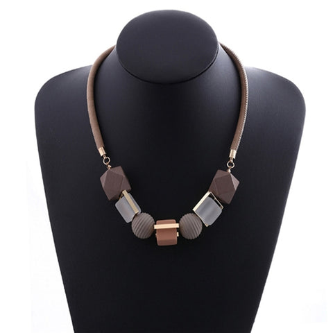 Colored Wood Round Beaded Pendant Trendy Sweater Chain Necklaces
