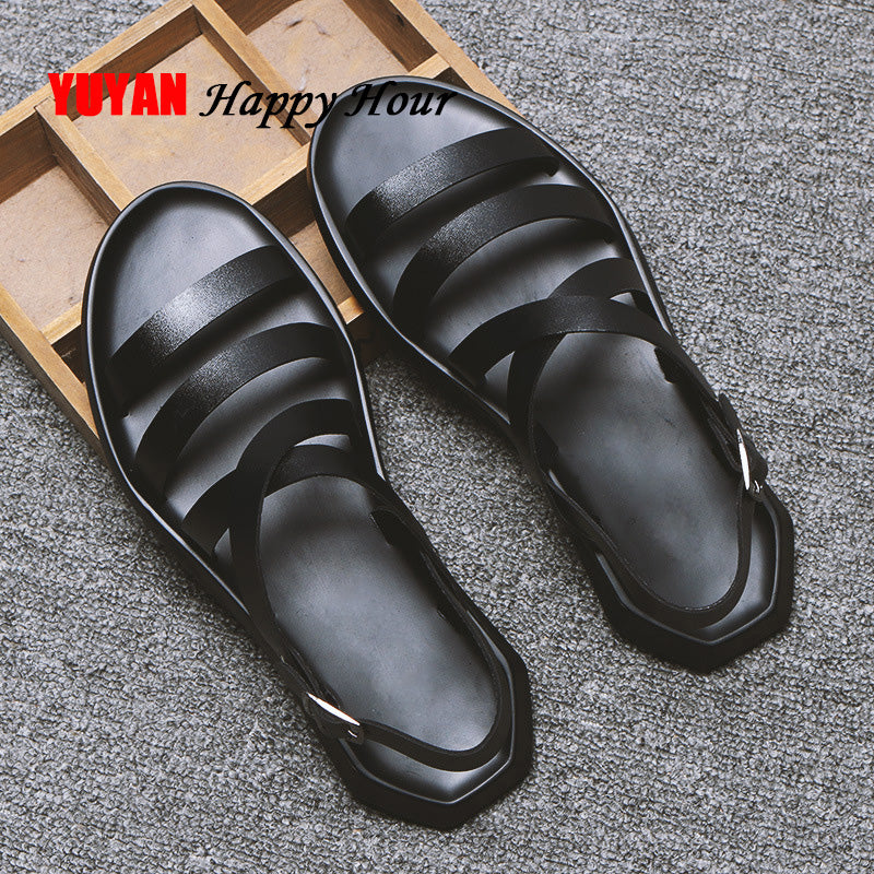 Leather Shoes Flat Beach Male Black White Sandals