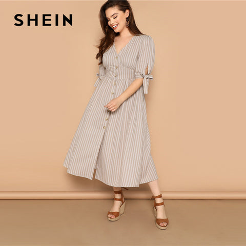 Plus Size Boho V Neck Half Sleeve Cotton Shift Long Dresses