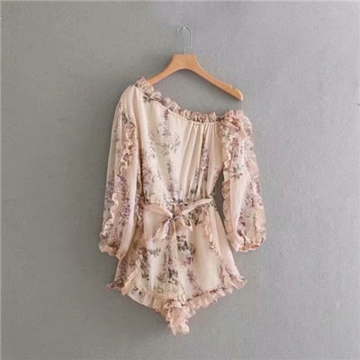 New Boho Floral Print Playsuits Bohemian Beach Chiffon Playsuit