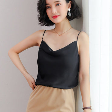 New Summer Sexy Sleeveless Faux Silk Shirt Cami Loose Crop Tops