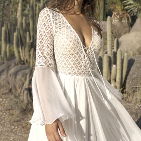 Vintancy Sexy Deep V Neck Sheer Maxi White Long Sleeve Beach Boho Dresses