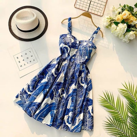 Spaghetti Strap Print Floral Sleeveless Empire Beach Dresses
