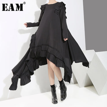 Round Neck Long Sleeve Ruffles Split Joint Irregular Hem Loose Dress