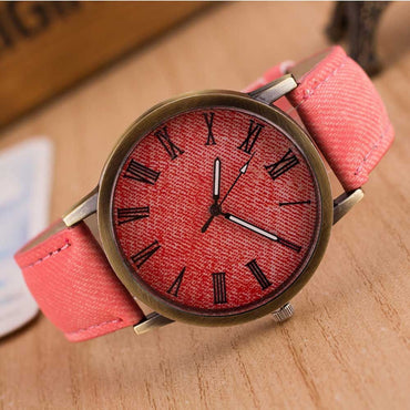 Vintage Denim Fabric Round Casual Cowboy Analog Quartz Wrist Watch