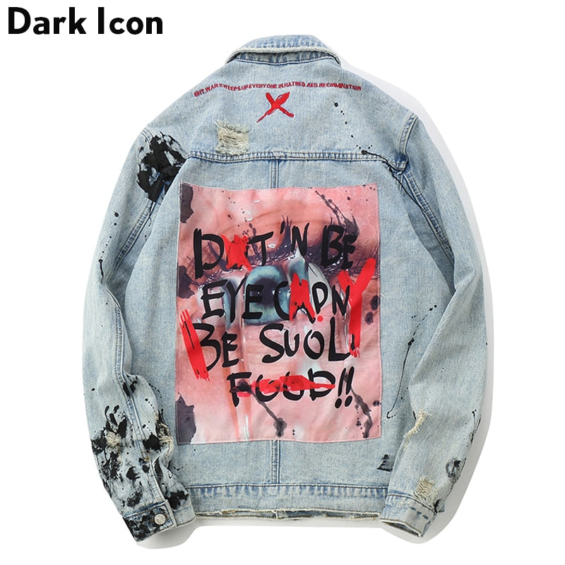 Graffiti Appliques Hip Hop Washing Material Denim Casual Jackets
