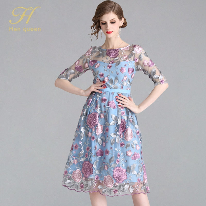 Sexy Elegant Flower Floral A-line Swing Retro Mesh Vestido Embroidery Dresses