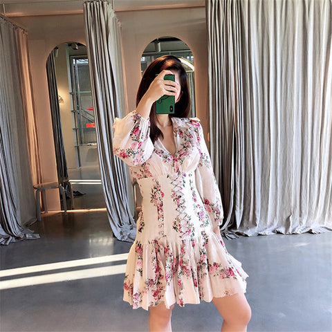 Boho Chic Hollow Out V-Neck Bound Lace up Flower Dress