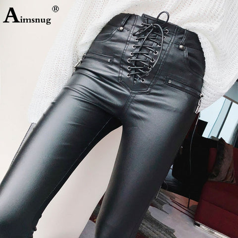 High Waist PU Leather Trousers Lace-up Skinny Pencil Pants