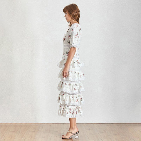 Hollow Out Patchwork Print Party Short Sleeve High Waist Midi Dresses